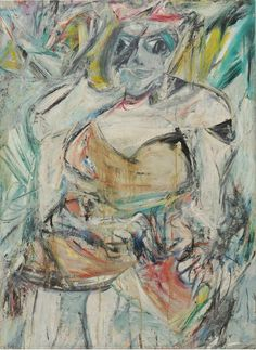 """Willem de Kooning, 'Woman II', 1952, Oil, enamel and charcoal on canvas, 59 × 43 in.  """"A first-generation Abstract Expressionist, Willem de Kooning is one of the most important artists of the 20th century."""" This artwork ties into my key concept that """"Identity in artwork can reflect emotions, thoughts, ideas."""""""