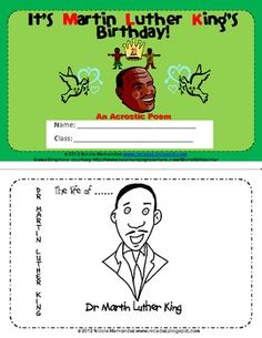 This little book highlights the life of Dr Martin Luther King in an acrostic poem. Each picture tells of an aspect in his life and struggle for equal rights. This mini book is more suited for Grades 1 to 6 because of the level of vocabulary, however, it can be used with the little ones with support from you.