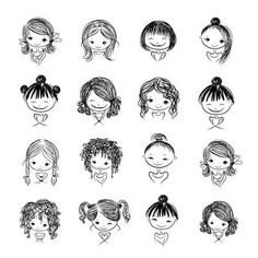 Set of cute girls characters, cartoon for your design- – Millions of creative photos, illustrations, videos and audio files for your inspiration and projects. Mommy Tattoos, Family Tattoos, Sister Tattoos, Dog Tattoos, Cute Tattoos, Tatoos, Doodle Drawings, Easy Drawings, Drawing Sketches