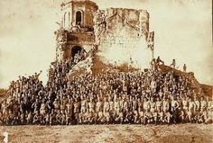 Members of the Guerilla Army assembled in front of the ruins of Antipolo church . Philippine Holidays, Manila Philippines, American War, Guerrilla, Pinoy, World War Two, William Cunningham, Army, Freemasonry