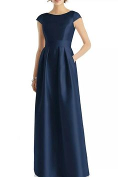 "Alfred Sung D767 Gown Midnight Blue Full-length sateen twill dress with bateau neckline and cap sleeve. Pleated skirt with pockets. Bust 17"" pit to pit Waist 13.75"" flat across Length approximately 58.5"" New without tags  
