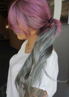 Granny silver/ grey hair color ideas: mauve pink hair with silver tips White Ombre Hair, Silver Ombre Hair, Light Purple Hair, Silver White Hair, Ombre Hair Color, Pink Hair, Violet Hair Colors, Balayage Color, Gorgeous Hair