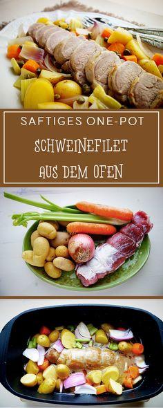 Saftiges One-Pot Schweinefilet aus dem Ofen - ein einfaches, herzhaftes italienisches Rezept, bei dem das Gemüse gleich mitgart. Toll für Gäste & glutenfrei! ❤️ | cucina-con-amore.de