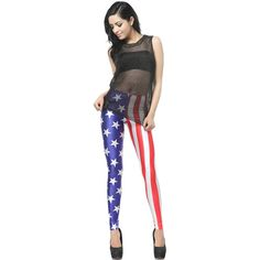 Blue White American Flag Print Leggings ($19) ❤ liked on Polyvore featuring pants, leggings, american flag pants, legging pants, usa flag pants, american flag leggings and blue and white pants
