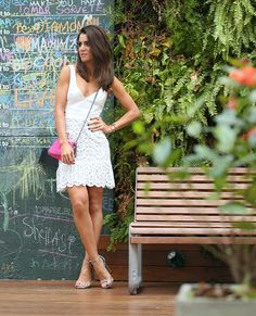 Look do dia: White Dress in São Paulo! Lace Dress, White Dress, For Your Legs, Black Bodycon Dress, Summer Looks, Stuart Weitzman, Outfits, Clothes, Dresses