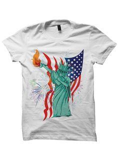 July 4th T-shirt Dabbin Statue Of Liberty T-Shirt ringspun cotton printed  with either Direct to Garment, heat transfer and/or screen printing  processes. Available in Unisex/Ladies sizes. A POP ATL Exclusive.