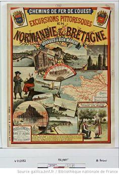 Chemins de fer de l'Ouest. Excursions pittoresques en Normandie & Bretagne voyages à bon marché..., billets circulaires à prix réduits valables un mois... : [affiche] / [non identifié] - 1