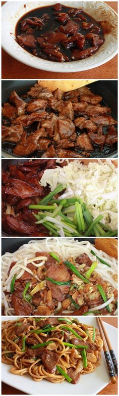 Shanghai Noodles - kiss recipe: Satisfies craving for Chinese takeout! Think Food, I Love Food, Good Food, Yummy Food, Tasty, Pork Recipes, Asian Recipes, Cooking Recipes, Healthy Recipes