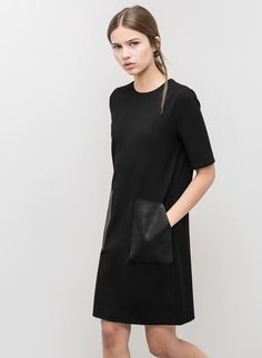 black dress, leather pockets are a cool detail Fashion Mode, Look Fashion, Fashion Design, Minimal Chic, Minimal Fashion, Minimal Clothing, Minimal Dress, Fashion Vestidos, Looks Street Style