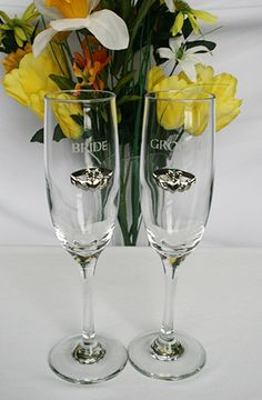 Bride and Groom Wedding Flutes with Claddagh