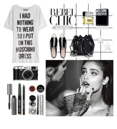 """This is not a Moschino look"" by lemerino ❤ liked on Polyvore featuring Forum, Moschino, Miu Miu, Bobbi Brown Cosmetics, white, black, blackandwhite and miumiu"