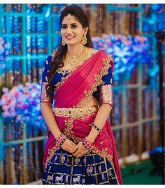 10 offbeat half saree colour combos we're all drooling over Lehenga Choli Designs, Wedding Saree Blouse Designs, Pattu Saree Blouse Designs, Half Saree Designs, Blouse Designs Silk, Saree Wedding, Tamil Wedding, Dress Designs, Wedding Bride