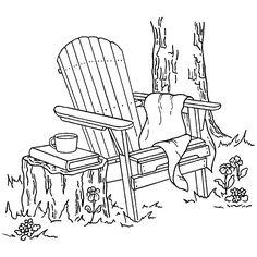 Adirondack Chair Inky Antics Mounted Rubber Stamp 3X3.25 IA0653J