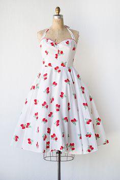 vintage 1950s inspired strawberry print sundress | Strawberry Shortcake Dress