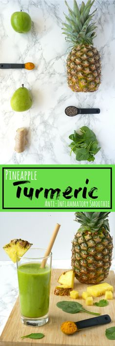 Natural Cures for Arthritis Hands - Pineapple Turmeric Anti-Inflammatory Smoothie. Great for arthritis, disease prevention, and weight loss! Smoothie Vert, Smoothie Detox, Vegan Smoothies, Smoothie Drinks, Healthy Smoothies, Detox Drinks, Healthy Drinks, Healthy Eating, Healthy Recipes