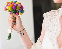 Felt Wedding Bouquet Craspedia Flowers Silk par FairyfolkWeddings on ETSY Multicolor Wedding, Felt Ball, Bride Bouquets, Felt Flowers, Needle Felting, Wedding Styles, Marie, Our Wedding, Wedding Flowers