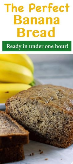 The Perfect Banana Bread - Banana bread is such a classic and delicious dessert! And we have the PERFECT recipe for you! This recipe will give you yummy, mouth-watering banana bread in under one hour!   ScrambledChefs.com