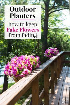 Flower Boxes Deck, Railing Flower Boxes, Window Box Flowers, Flower Planters, Window Boxes, Pink And White Flowers, Fake Flowers, Artificial Flowers, Metal Deck Railing