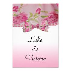 Pastel Pink Yesteryear Lace Flowers  Bow Wedding Invites