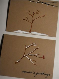 "Idea: Use embossing powder to make ""snow"" on the tree branches."