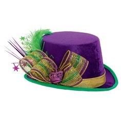 Mardi Gras Top Adult Hat - Look fabulous while you celebrate Mardi Gras! Mardi Gras Top Adult Hat Deluxe includes a purple hat with feathers, streamers, a. Mardi Gras Hats, Mardi Gras Outfits, Mardi Gras Food, Mardi Gras Parade, Mardi Gras Costumes, Burlesque Costumes, Halloween Costumes, Mardi Gras Centerpieces, Mardi Gras Decorations