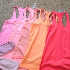 Lululemon Addict: Color Comparison: Bleached Coarl, Pink Shell, Pop Orange, Creamsicle Pop, and Light Flare