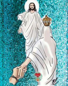 Maria e Jesus 😍😇❤ Blessed Mother Mary, Blessed Virgin Mary, Catholic Art, Religious Art, Mary Magdalene And Jesus, Catholic Wallpaper, Gods Princess, Religion Catolica, Jesus Faith