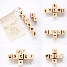 Milestone Blocks / Age Blocks / Wood Baby Blocks / Baby Photo Prop / Pregnancy Photo Prop