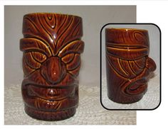 Vintage Large Brown Ceramic Tiki Mug Cup or Vase by PuppyLuckArt