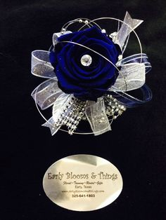 Royal blue/silver keepsake corsage