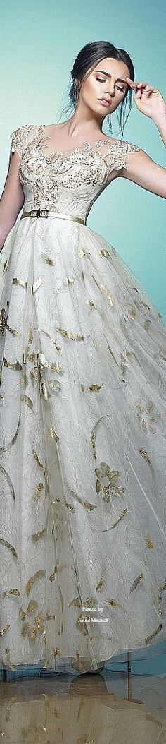 Saiid Kobeisy Spring-summer 2015 white dress gown with gold appliques beading floral designs