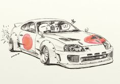 "car illustration  ""crazy car art""  jdm  japanese old school ""SUPRA""  original cartoon ""mame mame rock""   /   © ozizo"