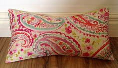 Paisley Pillow Cover in Pink Blue Green 12 x by WeekendAtTheLake