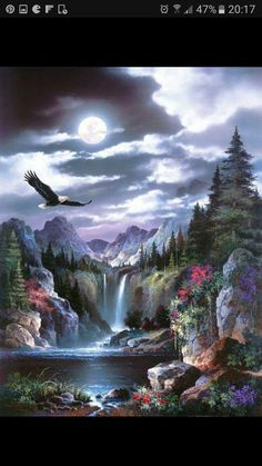 EagleBy Alma Lee Art Print: Moonlit Eagle Art Print by Alma Lee by Alma Lee : Print: Moonlit Eagle Art Print by Alma Lee by Alma Lee : Eagle Pictures, Nature Pictures, Beautiful Pictures, Fantasy Landscape, Landscape Art, Landscape Paintings, Native Art, Native American Art, Native Indian