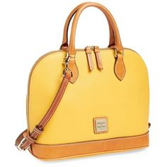 Dooney & Bourke 'Pebble Grain Collection' Water Repellent Leather Zip... (13.360 RUB) ❤ liked on Polyvore featuring bags, handbags, dooney bourke handbags, leather satchel, yellow leather purse, satchel handbags and round purse
