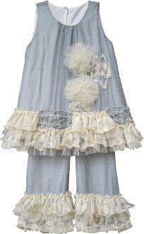 e878010dc0c Isobella   Chloe Little Girls Gray Vicki Two Piece Pant Outfit Set