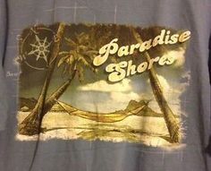 Paradise Shores Blue Tee Shirt Large Tropical Palm Trees Relax Hammock Beach