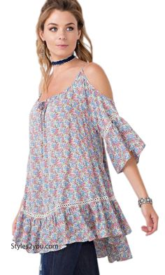 Toronto Cold Shoulder Ruffled Bottom Babydoll Tunic Vintage Blue gorgeous Gourgeousclothing modernvintage clothing victorianvintageclothing beyourself inspiration unique boutique vintage lace hi womenclothing love clothes pretty girl selfie fashion beyourself online bargins shirtextender pleateddress topextender cheap clothes