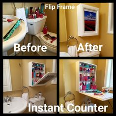 My Flip Frame, Extra Storage Where You Need It! Do you have no bathroom counterspace? My Flip Frame solves your storage and countertop issues. Attic Playroom, Attic Loft, Garage Attic, Attic Ladder, Attic Office, Attic Organization, Attic Storage, Extra Storage, Shoe Storage