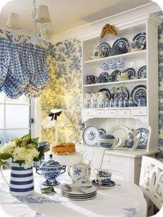 Country French in blue & white with pops of yellow, gorgeous...   My Serenity