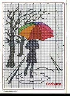 Chica con paraguas Triiptico 2