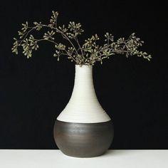 A shimmery metallic bronze Groove Vase for a very non-shimmery rainy day. #porcelain #pottery #modernrustic #rusticmodern #vase #homedecor #handmade #etsy #modern #design #ceramics