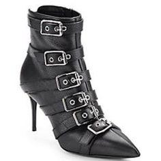 56% off Giuseppe Zanotti - Boots Pebbled Leather Point Toe Buckle Strap Ankle Nero - $699.99 #giuseppezanotti #boots