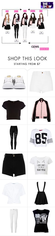 """""""Gems:New girl @The Show"""" by kpopgroups101 ❤ liked on Polyvore featuring adidas Originals, River Island, Jonathan Saunders, Boohoo, T By Alexander Wang, Burberry and GEMSgirls"""