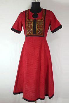 Red Mirror Work Ethnic Anarkali, 100% Red Cotton Long Kurti, Mirror patch work yoke in front, Black Bandhani Back.