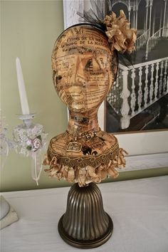 Make a hatstand from a wig head and lamp base