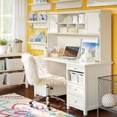 Beadboard Smart Desk + Hutch from PBteen. Shop more products from PBteen on Wanelo. Teen Girl Rooms, Girls Bedroom, Dream Bedroom, Bedrooms, Home Office Organization, Office Decor, Wooden Drawer Pulls, Teen Desk, Smart Desk