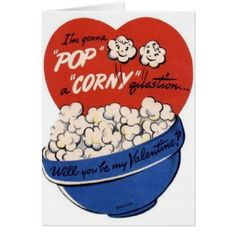 Vintage Popcorn Valentine's Day Card - tap, personalize, buy right now!