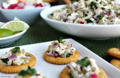 Green Chile Chicken Salad is popular at any gathering - full of tender Chicken, savory Green Chilies and crunchy Radishes in a tangy sour cream lime dressing. Perfect for topping RITZ® Roasted Vegetable Crackers. Recipe via  @thyme4cocktails. Put It On A RITZ® AD Put It On A RITZ® Sweeps AD