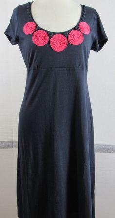 Boden Jersey Knit Dress 12L Navy Blue Peachy Red Short Sleeve Knee Length #Boden #EmpireWaist #Casual